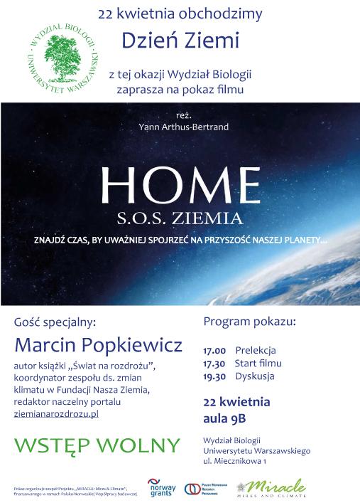 """Zapraszamy na pokaz filmu """"Home: SOS Ziemia"""" 22 kwietnia. godz, 17.00"""